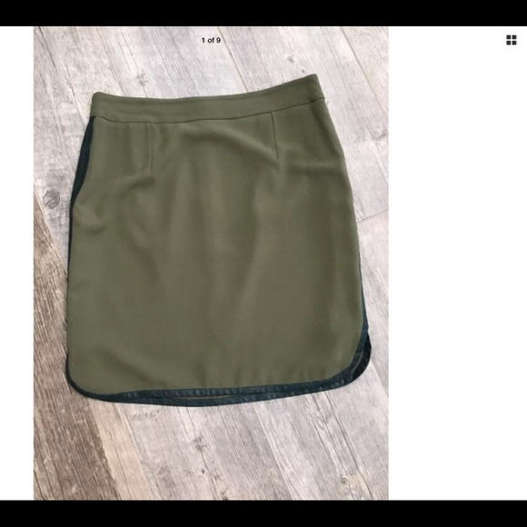94e3d98943 Daniel Cremieux Skirts | Olive Green Trimmed In Faux Leather Sz 8 ...